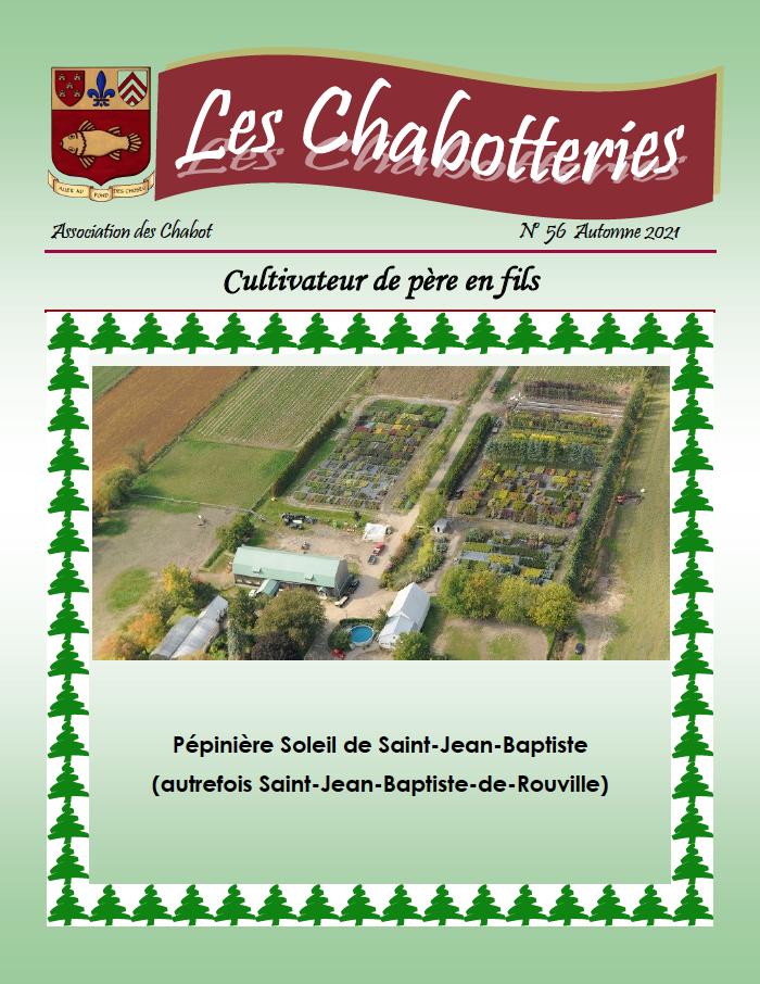 Page couverture - Revue les Chabotteries 56 - Automne 2021